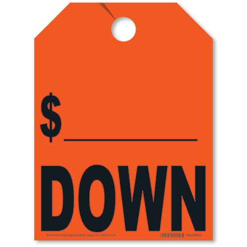 Down/Price Drop Mirror Tags - Fluorescent Red