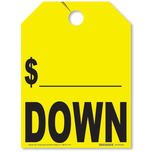 Down/Price Drop Mirror Tags - Fluorescent Yellow