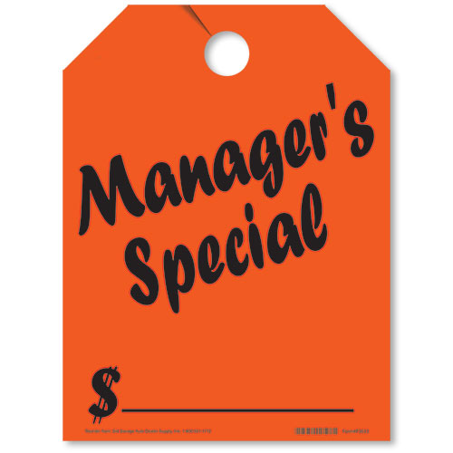 Manager's Special Fluorescent Rear View Mirror Tags
