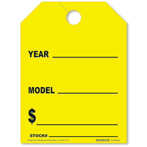 Car Year-Model Mirror Hang Tags - Fluorescent Yellow