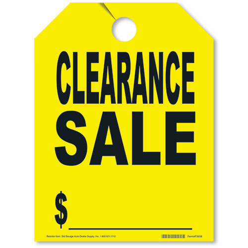 Yellow Clearance Sale Fluorescent Rear View Mirror Tags