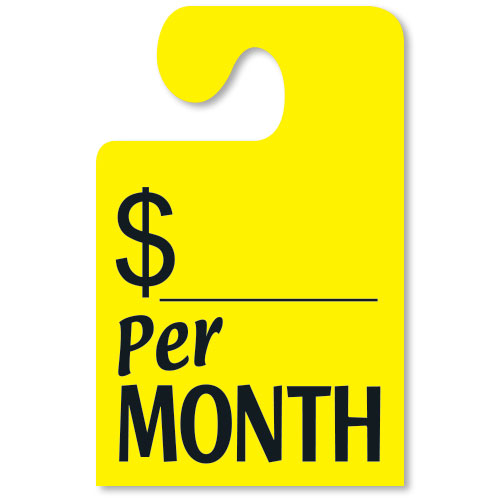 Fluorescent Yellow Per MONTH Hook Rear View Mirror Tags