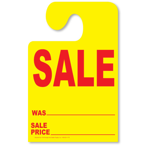 Fluorescent Yellow Hook Mirror Tag - SALE with Red Print
