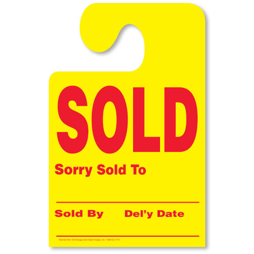 Fluorescent Yellow Hook Mirror Tag - SOLD with Red Print