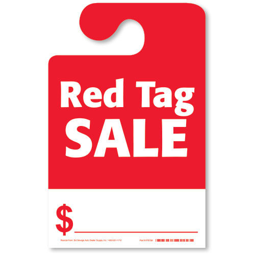 License Plate Holders >> Hook Mirror Tag - Red Tag Sale | Rear View Mirror Hang Tags - Auto Dealer Supplies