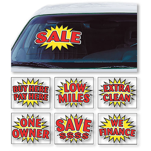 Econo Auto Sales >> Bright Burst Static Cling Windshield Signs | Auto Window Clings