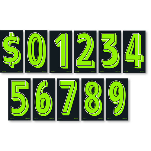 """7.5"""" Budget Pricing Numbers - Chartreuse & Black"""