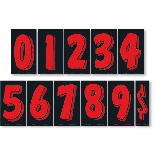 Fluorescent Red and Black 7 1/2 inch Pricing Numbers