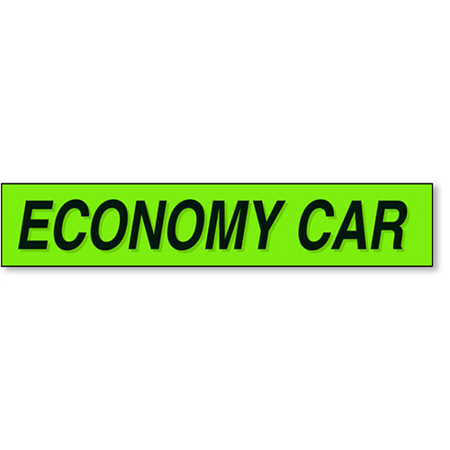 Economy Car - Black and Chartreuse Windshield Slogans