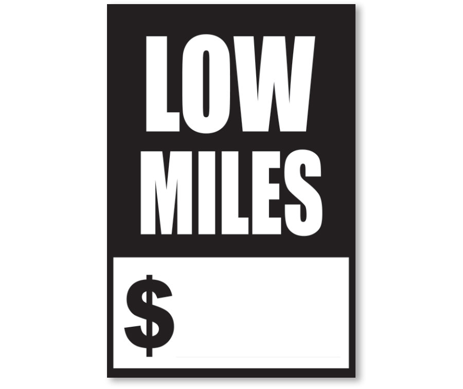 Low Miles Quick Sale Stickers - Black & White