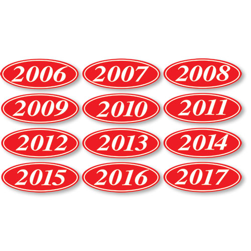 Red Model Year Stickers Dealer Stickers Oval Dealer Year