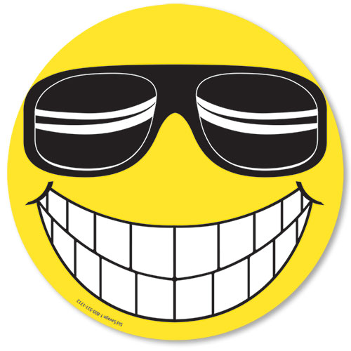 Happy Face with Sunglasses Stickers
