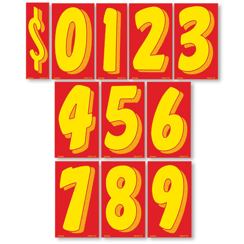 """11.5"""" Windshield Pricing Numbers - Red & Yellow"""