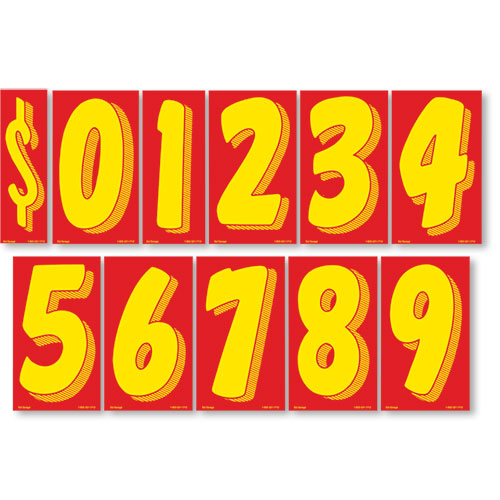 """11.5"""" Windshield Pricing Numbers Kit - Red & Yellow"""
