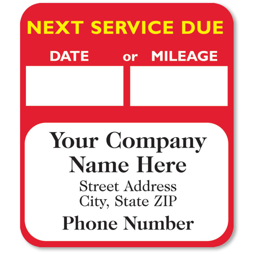 High-Visibility Service Stickers - Next Service Due (Red)