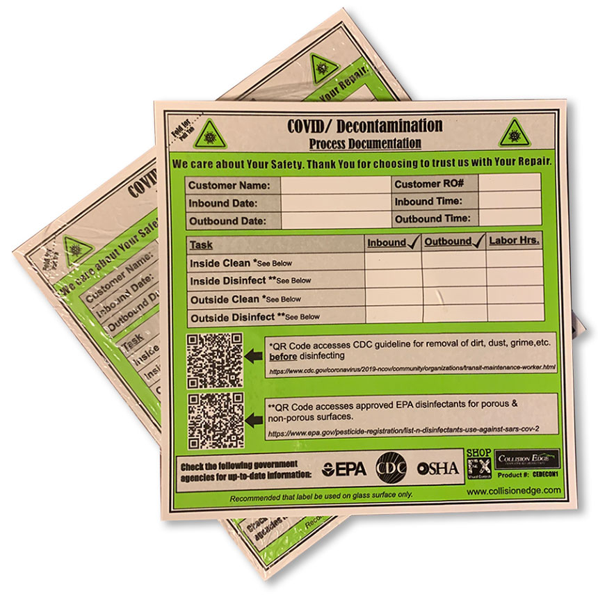 COVID Cling Decontamination Label