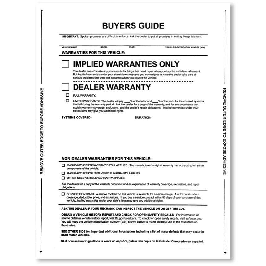Implied Buyers Guide Laser Stickers