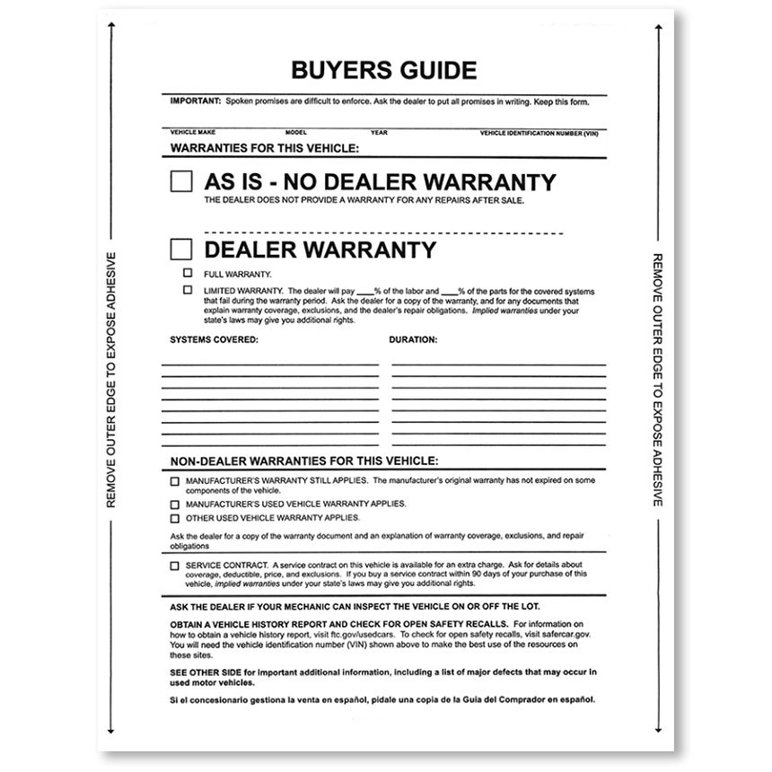 As Is Buyers Guide Laser Stickers - With Lines