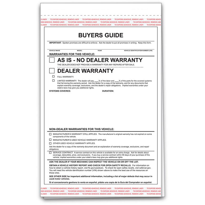 R&R 2-Part Carbonless Standard Car Buyers Guides