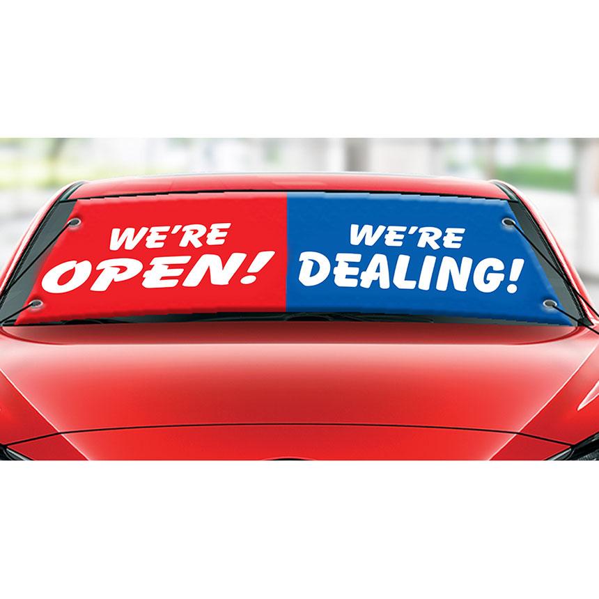 Front Line Banner - We're Open, We're Dealing
