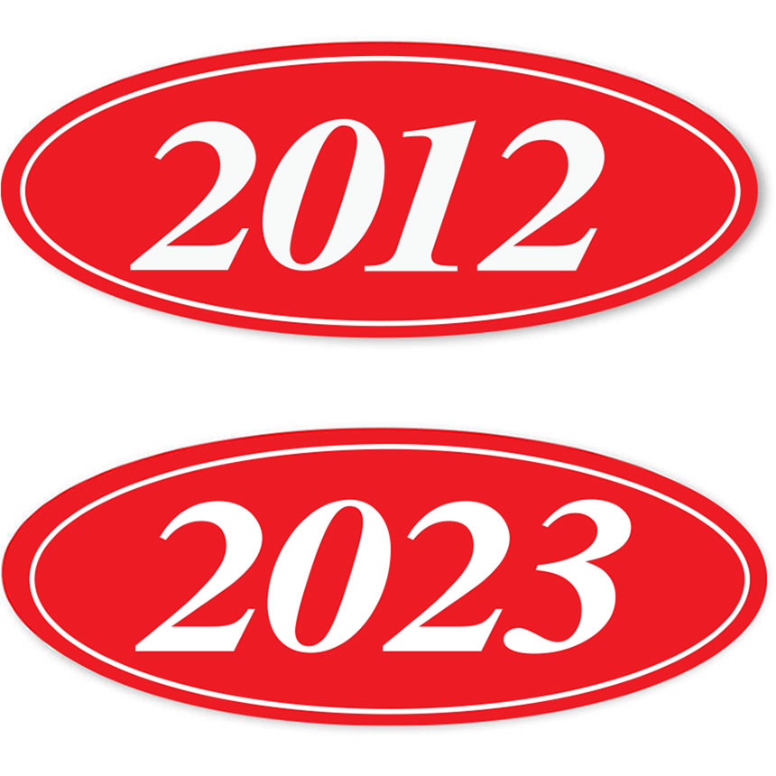 4-Digit Oval Car Year Stickers - Red & White