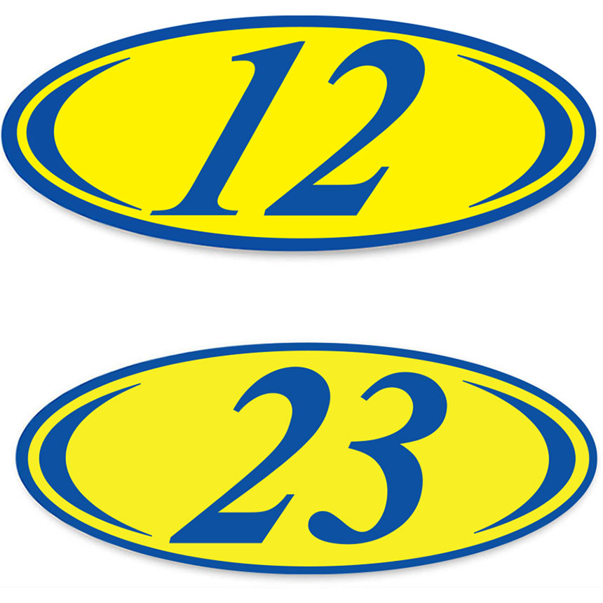 2-Digit Oval Car Year Stickers - Blue & Yellow