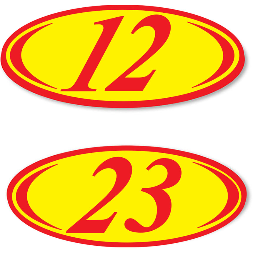 2-Digit Oval Car Year Stickers - Red & Yellow