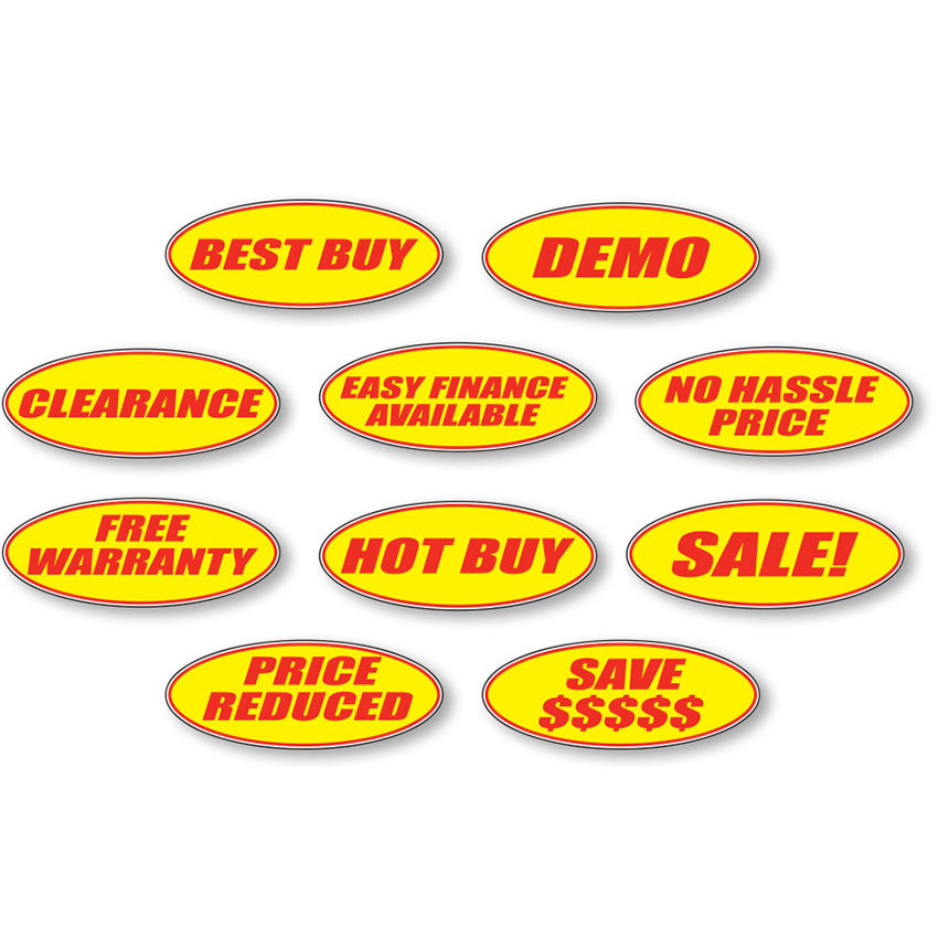 Oval Windshield Slogan Stickers - Red & Yellow