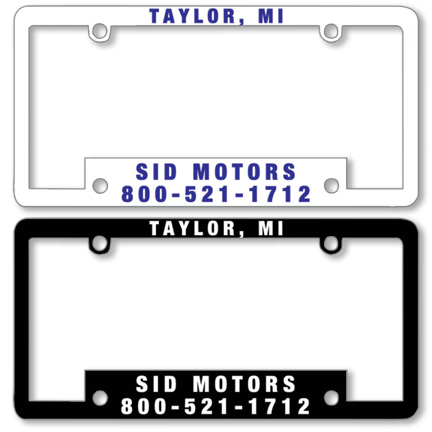 Premium Plastic Dealer License Plate Frames - 1 Color