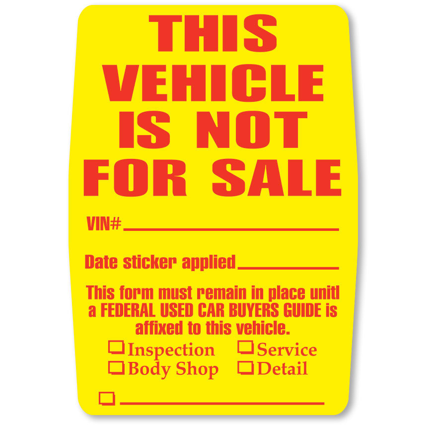 Vehicle Not for Sale Clear Back Stickers