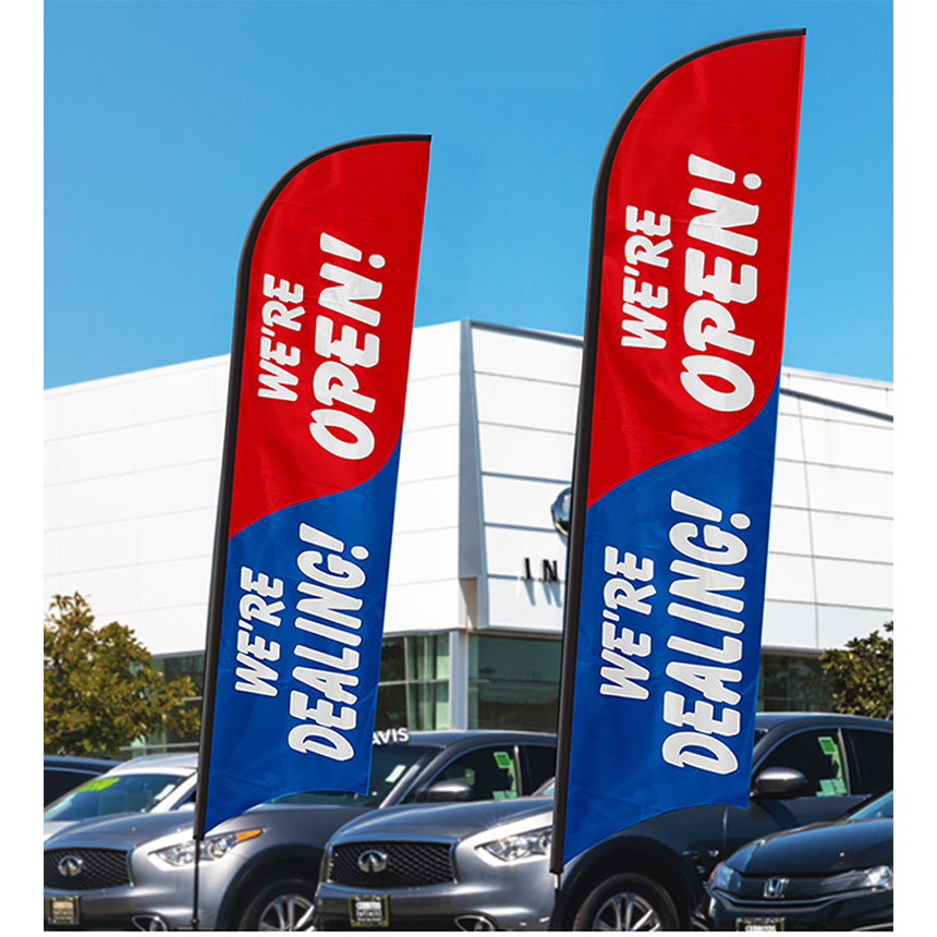 We're Open & Dealing Feather Flag Kit 12ft