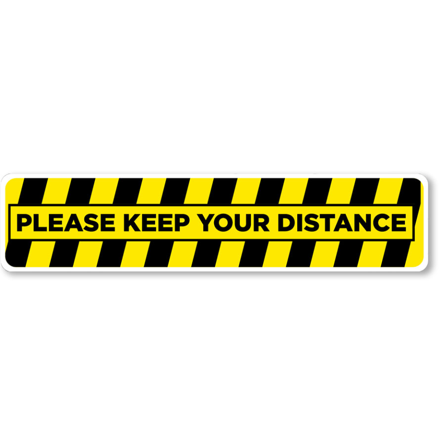"""Please Keep Your Distance 24.5"""" x 5"""" Blk/Ylw Floor Sign"""