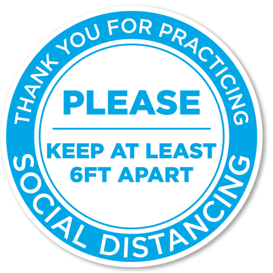 "Please Keep Your Distance 12"" Circle Blue/White Floor Sign"
