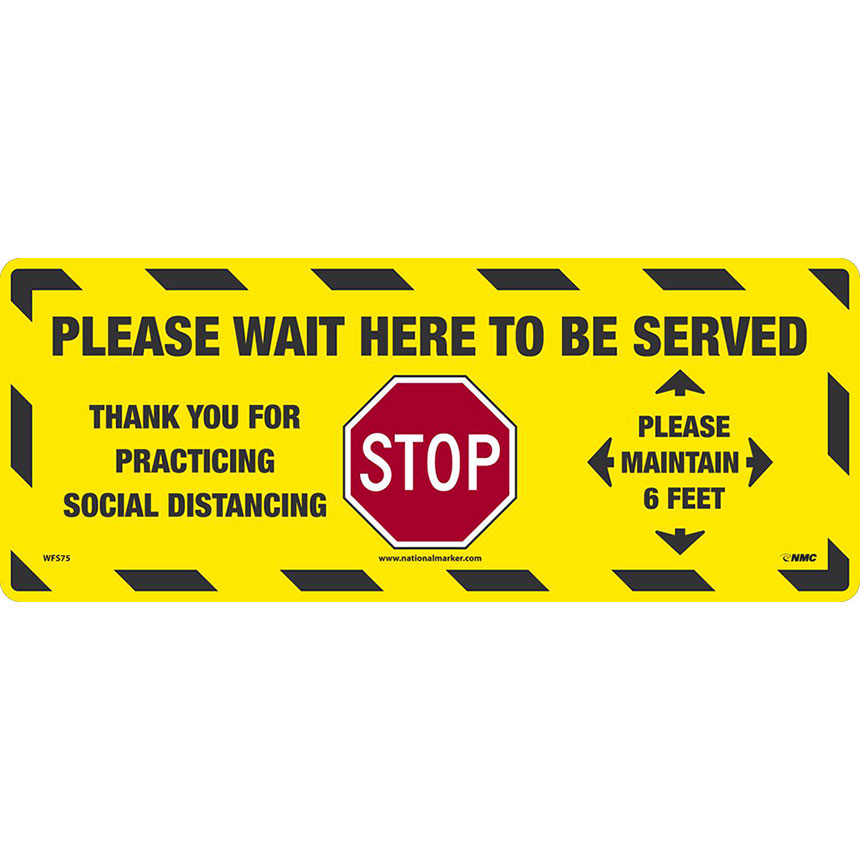 Please Wait To Be Served Floor Sign