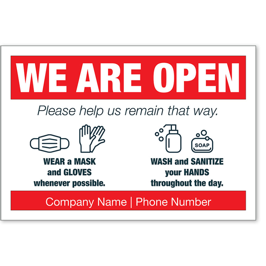 "We Are Open COVID-19 Safety Personalized Poster 13"" x 19"""