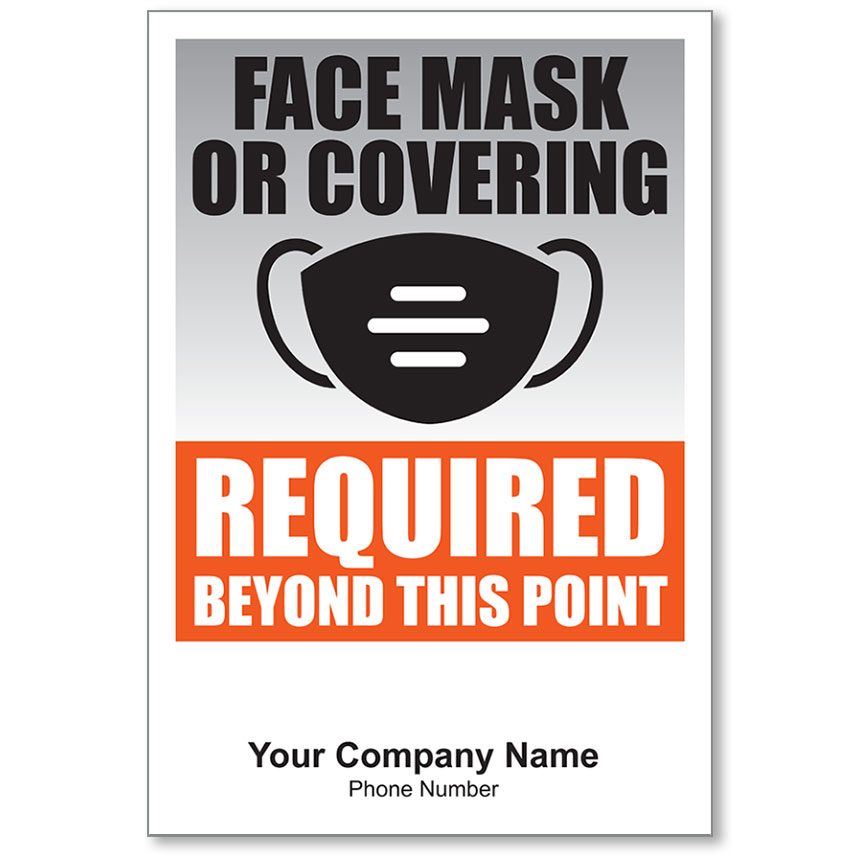 "Face Mask or Covering Required Personalized Poster 13"" x 19"""