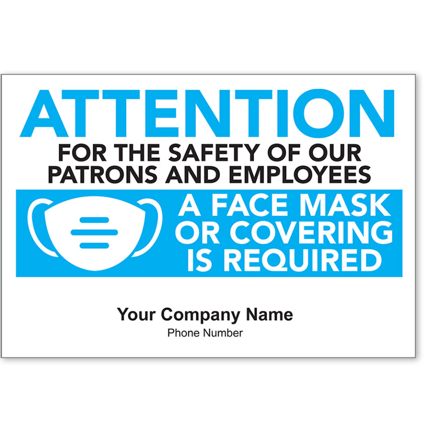 """Attention Face Mask Required Personalized Poster 13"""" x 19"""""""
