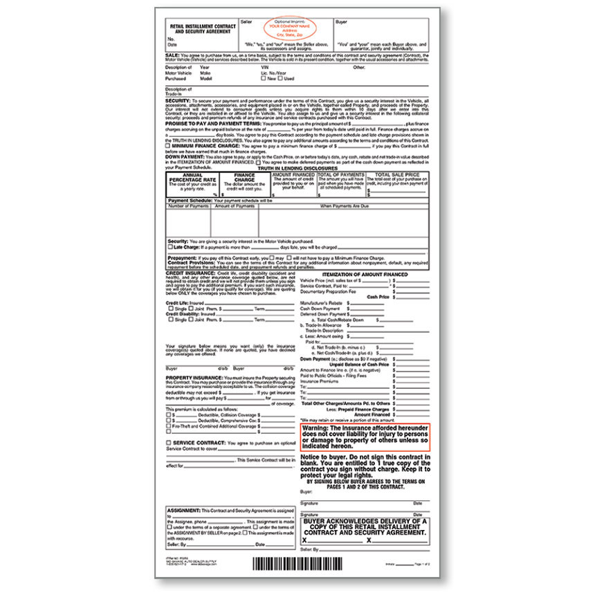 Imprinted Retail Installment Contract, Custom Printed Installment