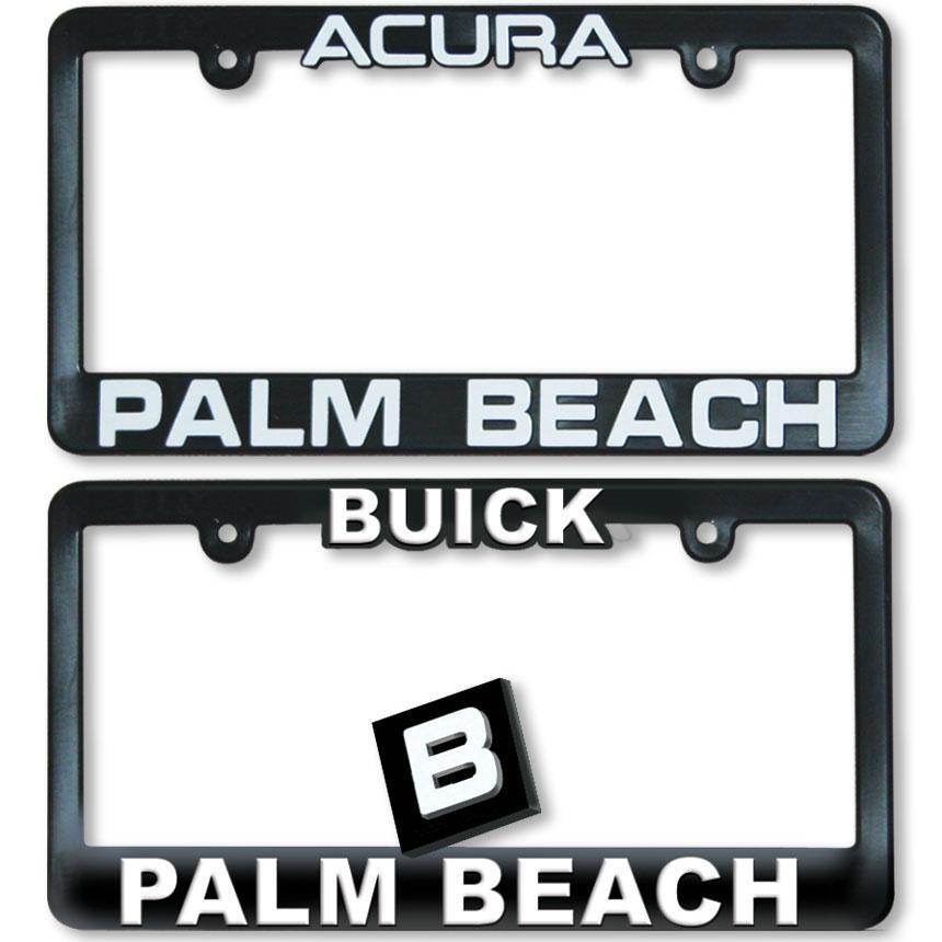 Imprinted 3D Raised Letter Dealer License Plate Frames - Black & White