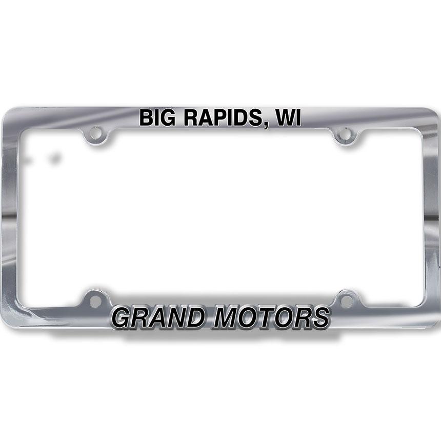 Custom Imprinted Chrome Plated Plastic Dealer License Plate Frames - Design 2