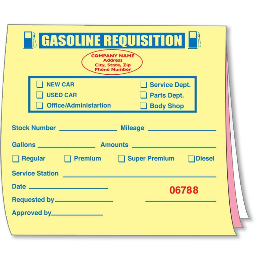 Custom Imprinted Gasoline Requisition Book