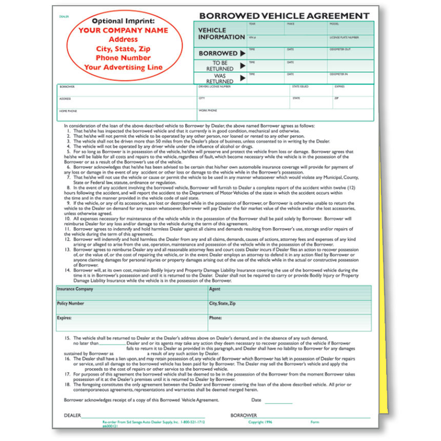 Custom Imprinted Borrowed Vehicle Agreements Car Dealer Forms