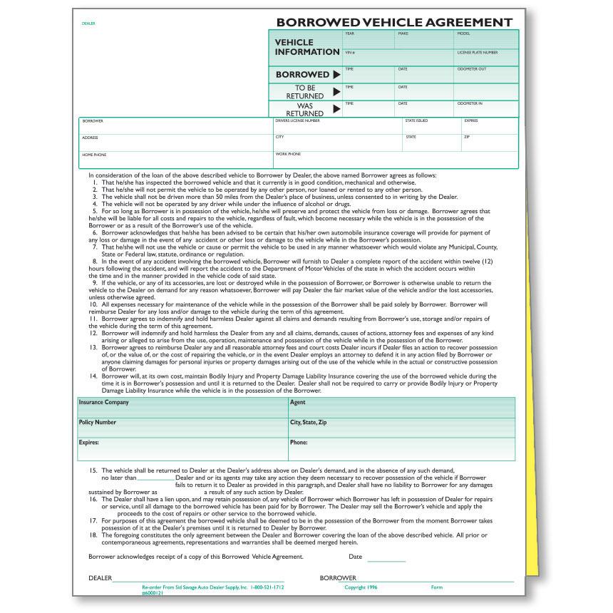 Borrowed Vehicle Agreements