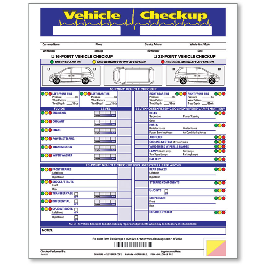 3 Part Vehicle Check Up Form