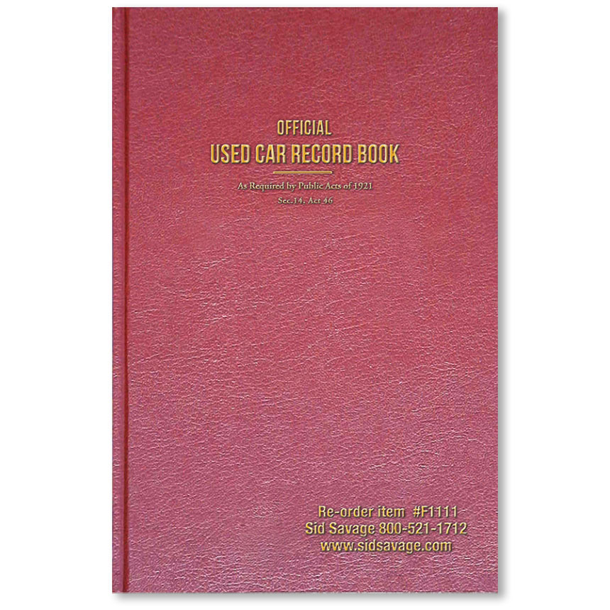 Maroon Used Car Record Book