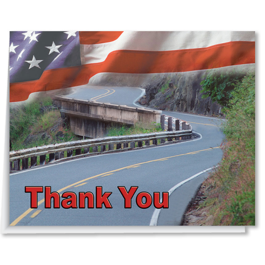 US Flag Premium Dealership Thank You Cards