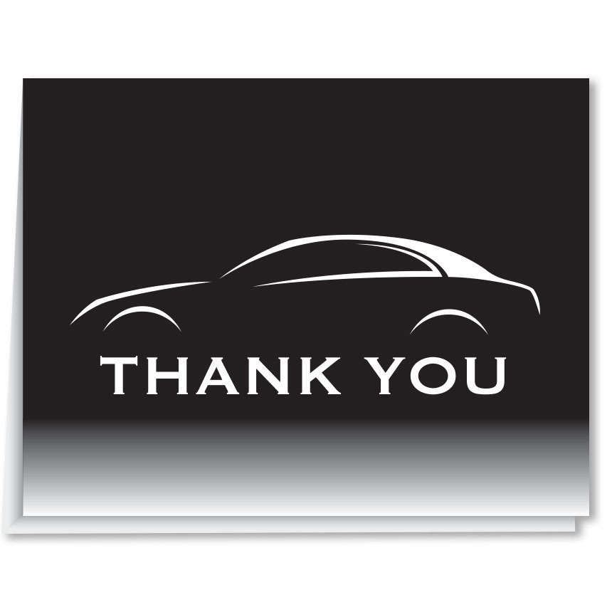Auto Dealer Thank You Cards - Black & White Car