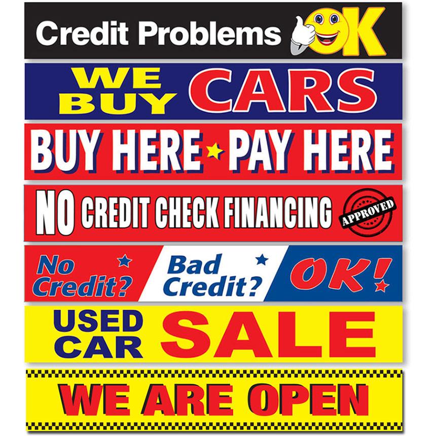 Jumbo Heavy-Duty Stock Car Lot Banners