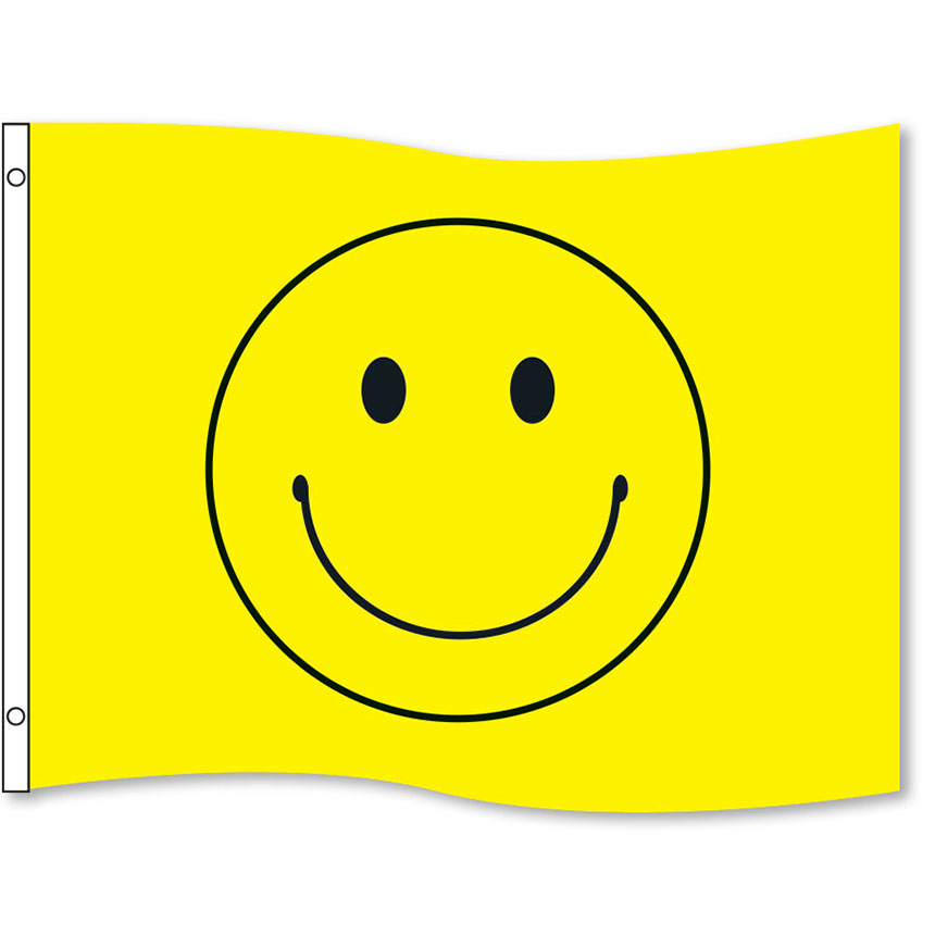 Yellow Smiley Rectangle Flags 3' x 5'