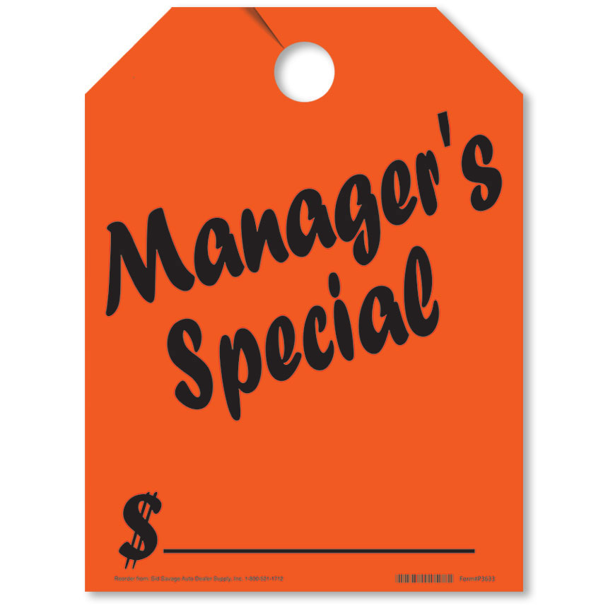 Manager's Special Mirror Hang Tags - Fluorescent Red